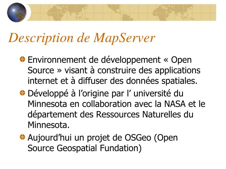 Description de MapServer