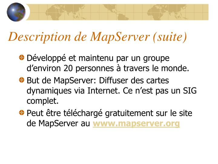 Description de MapServer (suite)