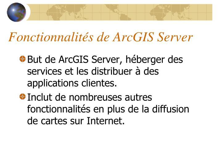 Fonctionnalités de ArcGIS Server