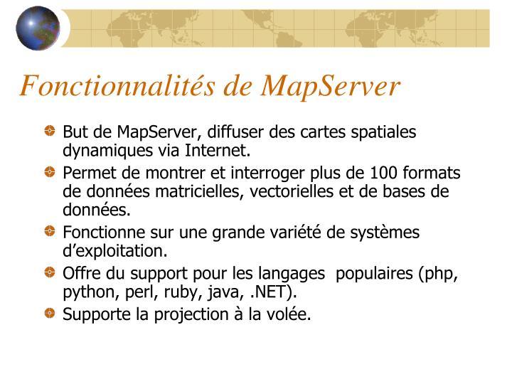 Fonctionnalités de MapServer