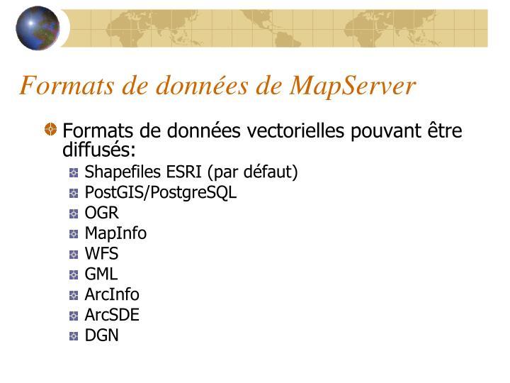Formats de données de MapServer