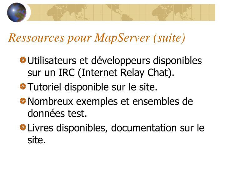 Ressources pour MapServer (suite)