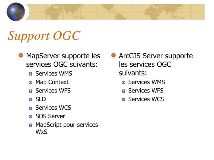 MapServer supporte les services OGC suivants: