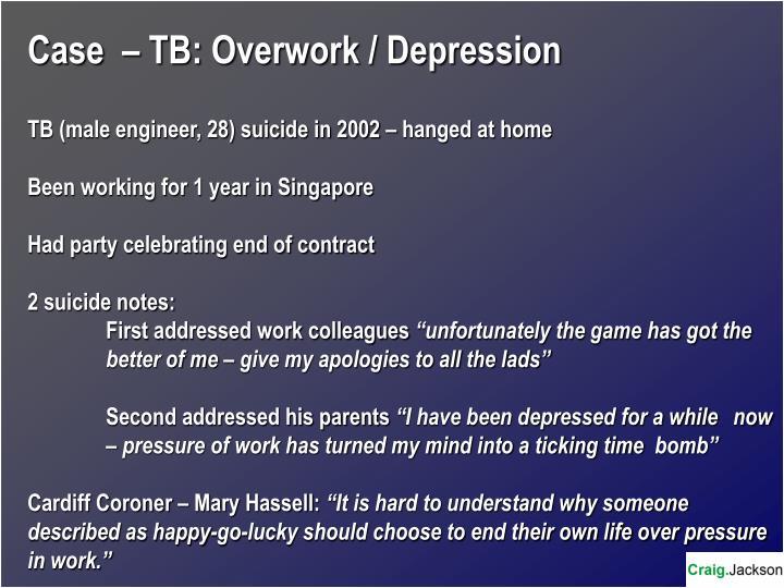 Case  – TB: Overwork / Depression