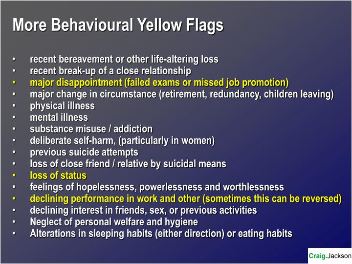 More Behavioural Yellow Flags