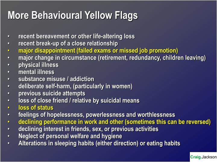 More Behavioural Yellow Flags