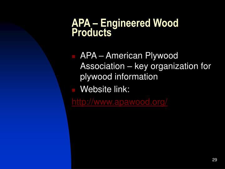 APA – Engineered Wood Products