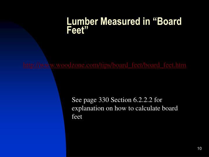 """Lumber Measured in """"Board Feet"""""""
