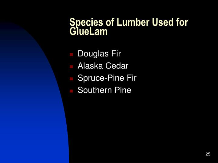 Species of Lumber Used for GlueLam