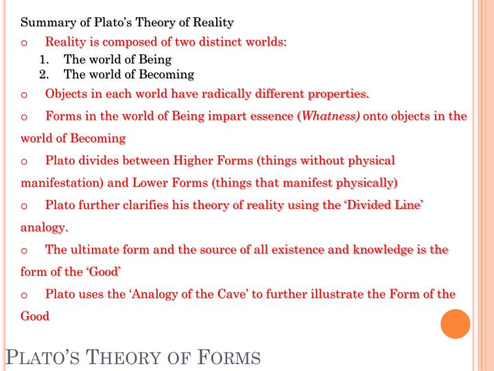 Summary of Plato's Theory of Reality