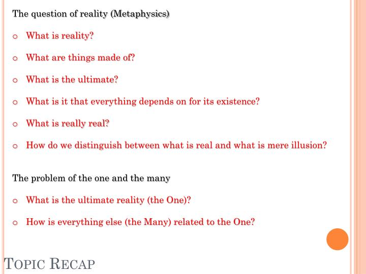 The question of reality (Metaphysics)