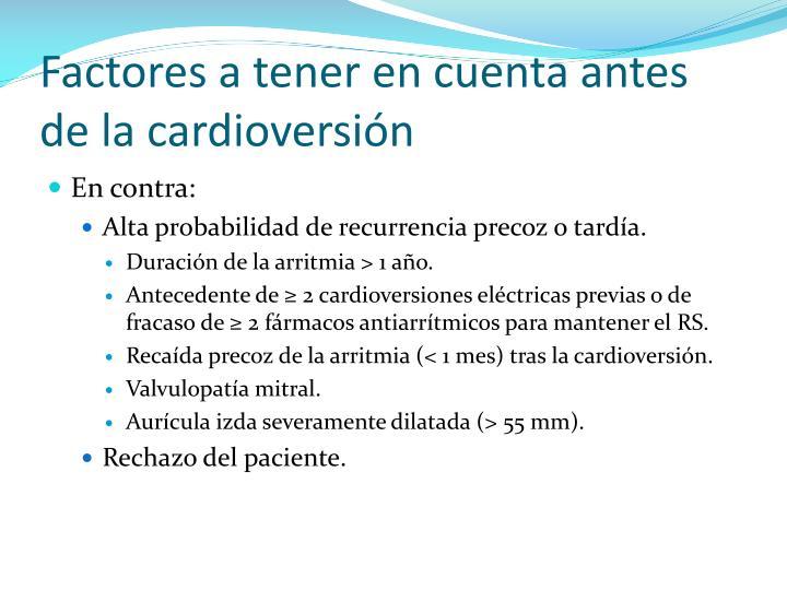 Factores a tener en cuenta antes de la cardioversión