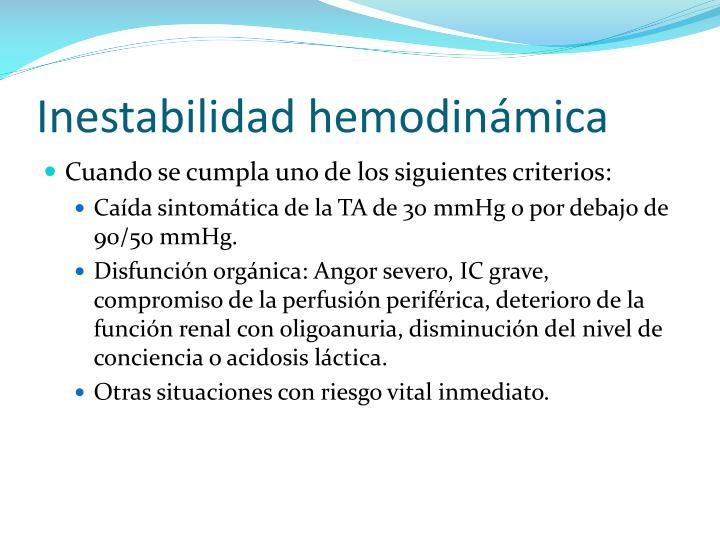 Inestabilidad hemodinámica