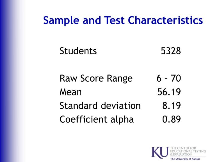 Sample and Test Characteristics