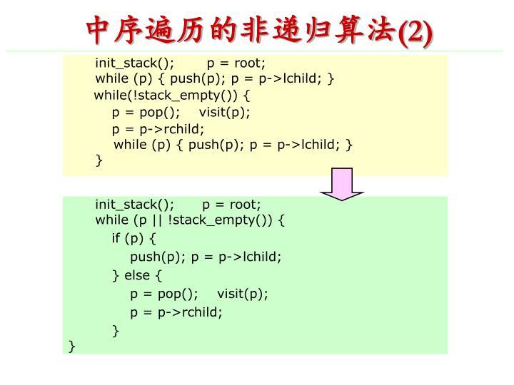 中序遍历的非递归算法
