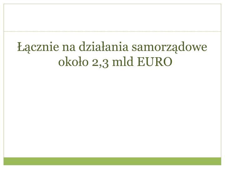 Łącznie na działania samorządowe około 2,3 mld EURO