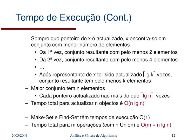 Tempo de Execução (Cont.)