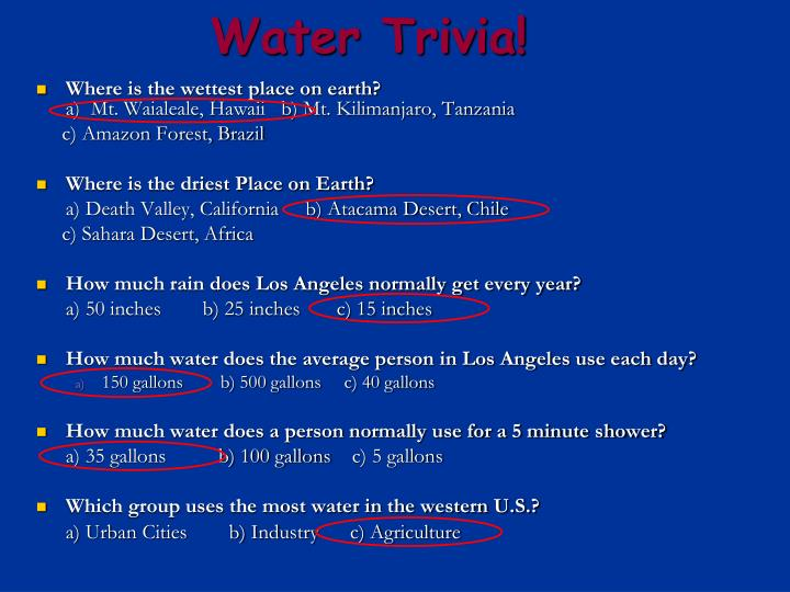 Water Trivia!
