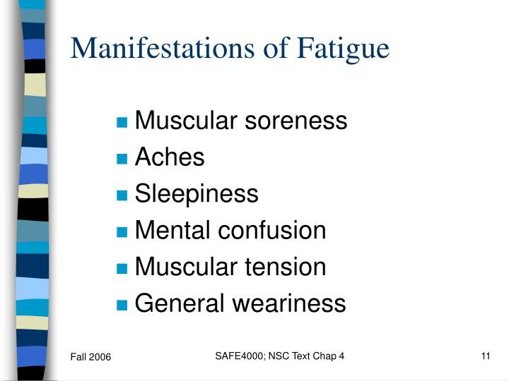 Manifestations of Fatigue