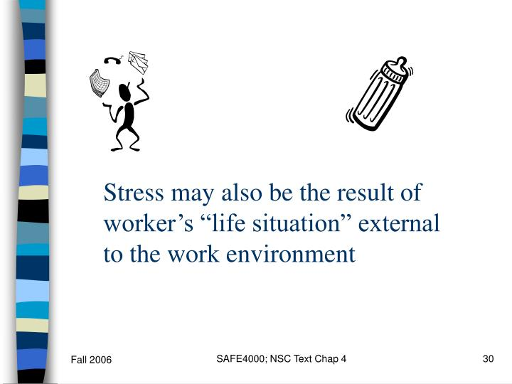 """Stress may also be the result of worker's """"life situation"""" external to the work environment"""