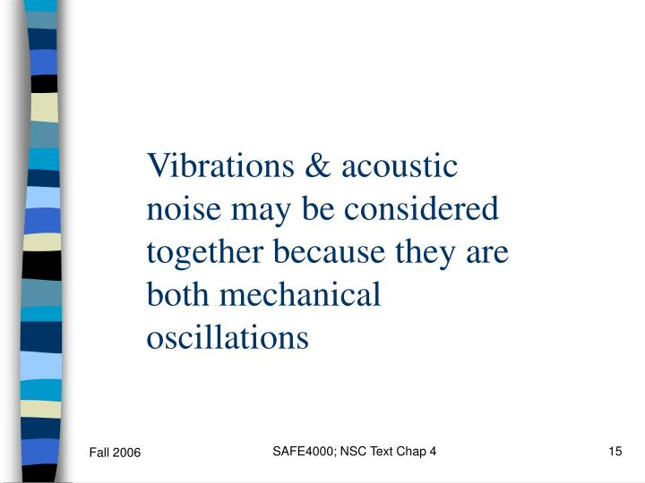 Vibrations & acoustic noise may be considered together because they are both mechanical oscillations
