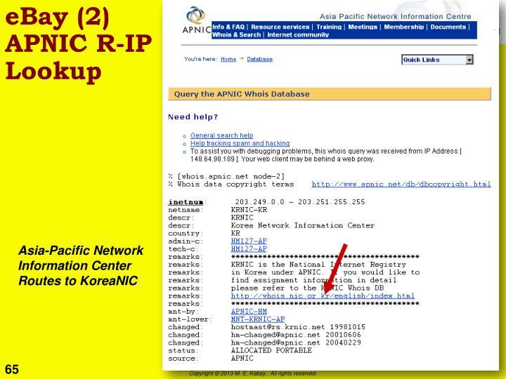 eBay (2) APNIC R-IP Lookup