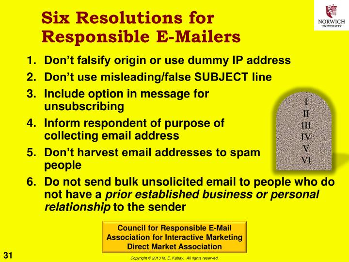 Six Resolutions for Responsible E-Mailers