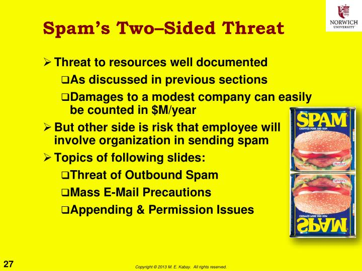 Spam's Two–Sided Threat