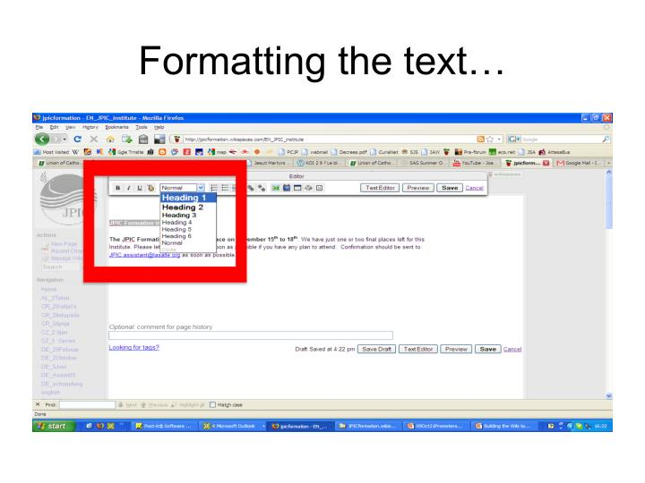 Formatting the text…