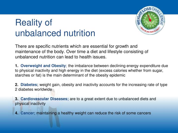 Reality of                                           unbalanced nutrition