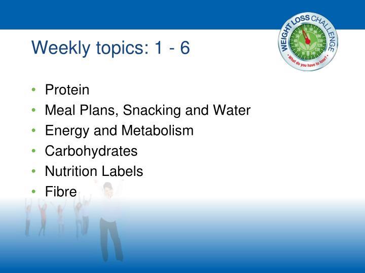 Weekly topics: 1 - 6