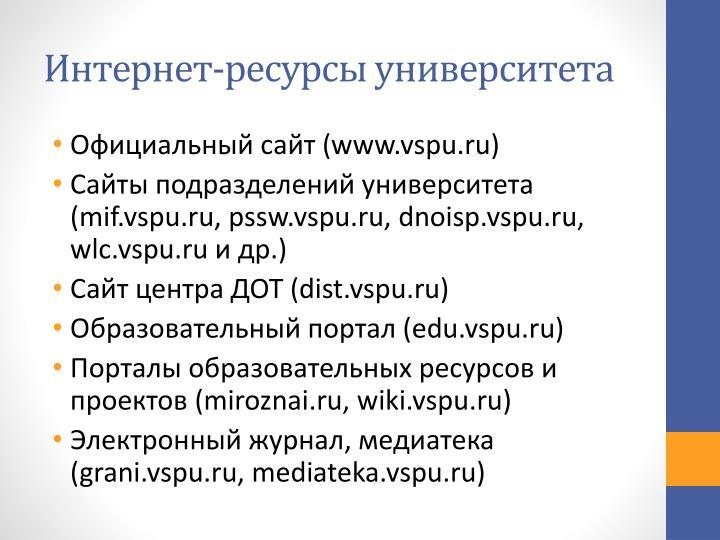 Интернет-ресурсы университета