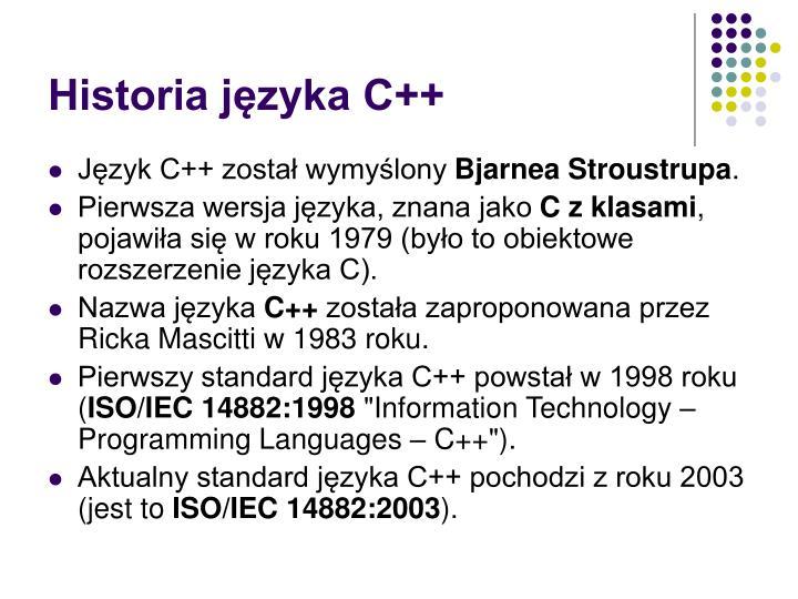 Historia języka C++