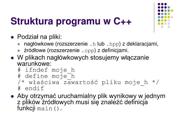 Struktura programu w C++