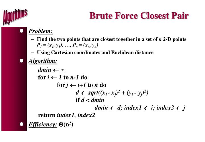 Brute Force Closest Pair