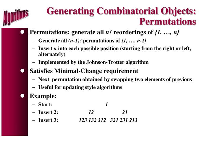 Generating Combinatorial Objects: Permutations