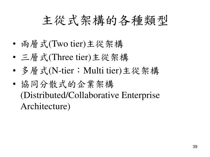 主從式架構的各種類型