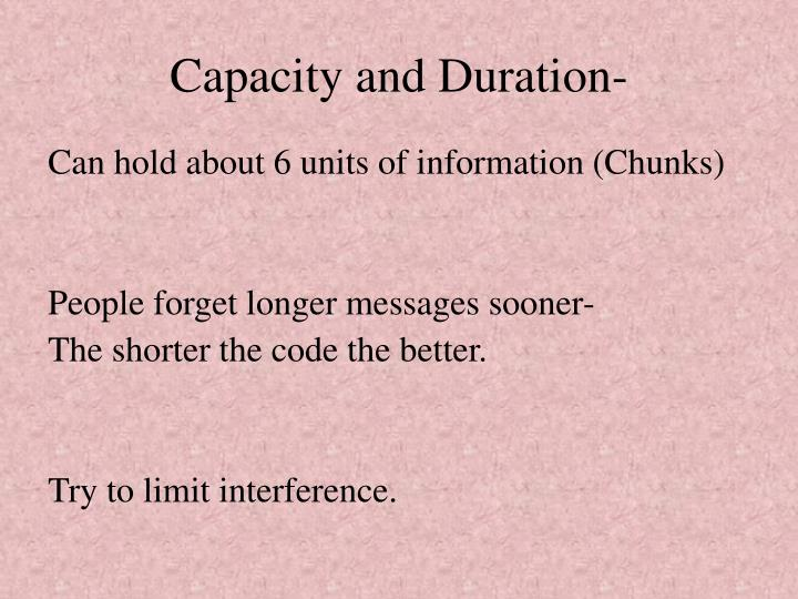 Capacity and Duration-