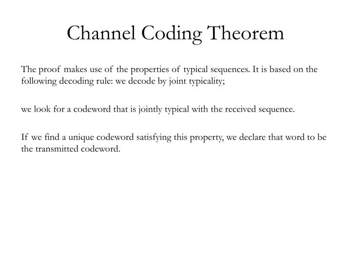 Channel Coding Theorem