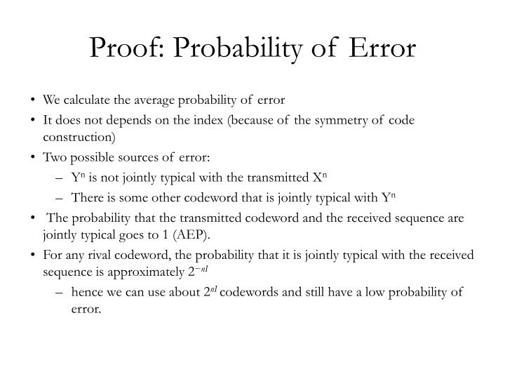 Proof: Probability of Error