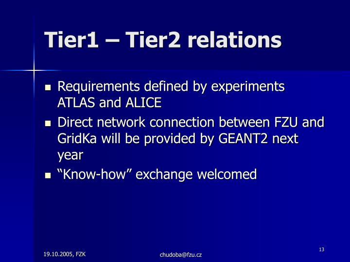 Tier1 – Tier2 relations