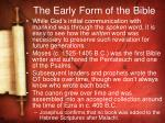 the early form of the bible
