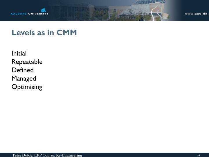 Levels as in CMM
