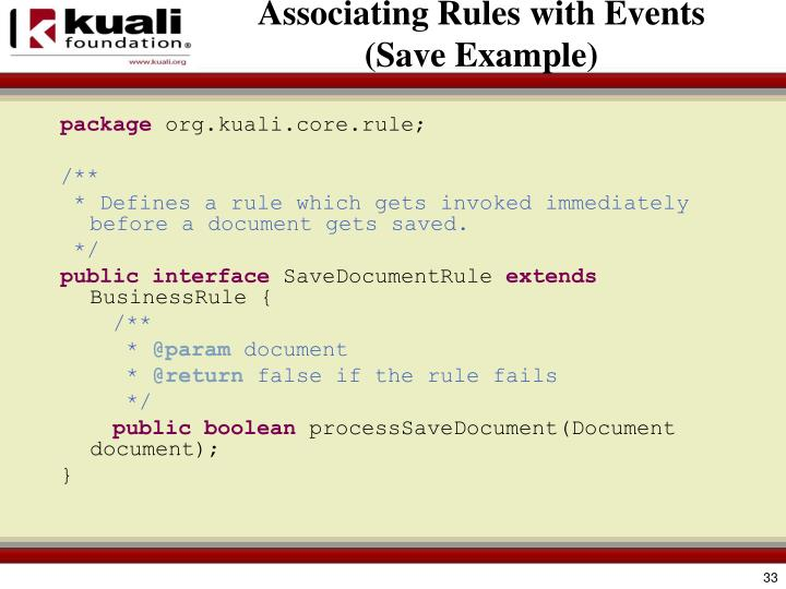 Associating Rules with Events