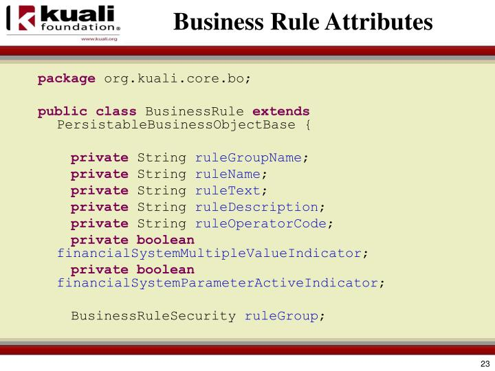 Business Rule Attributes