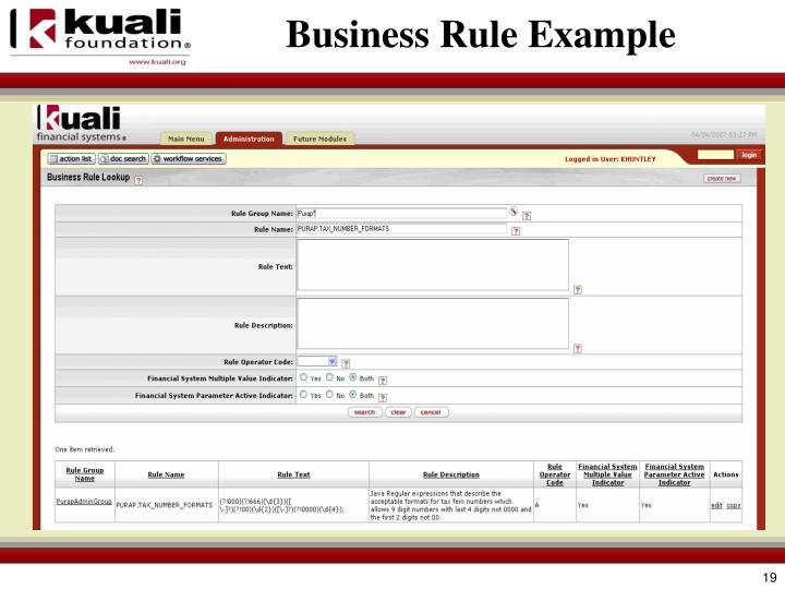 Business Rule Example