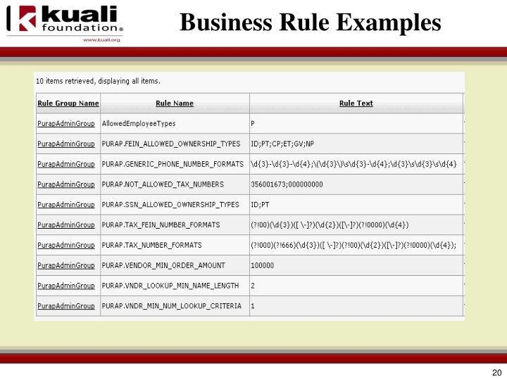 Business Rule Examples
