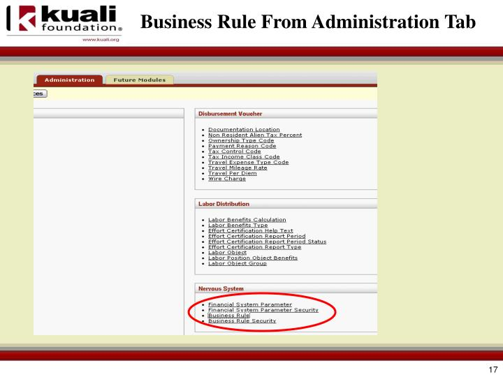Business Rule From Administration Tab
