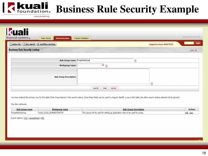 Business Rule Security Example
