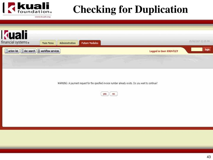 Checking for Duplication